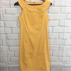 NWT Dressbarn Shift Dress Size 4 Yellow Boat Neck